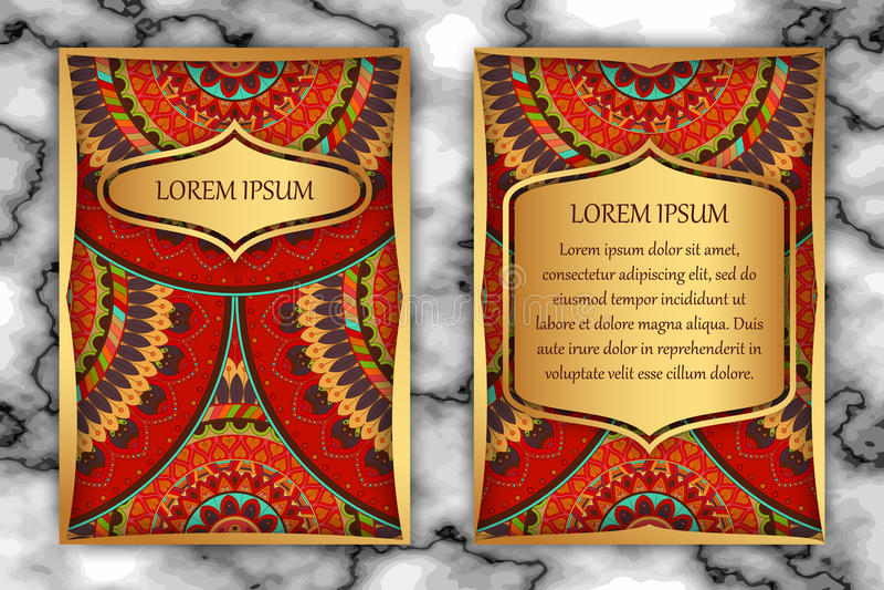 Calibre de design de carte d'invitation Éléments décoratifs de vintage avec le mandala, modèle floral sensible illustration libre de droits
