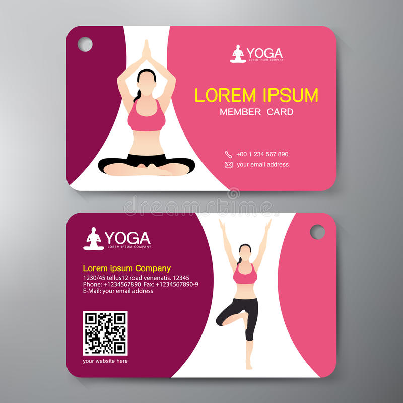 Calibre de design de carte de yoga et de sport illustration stock