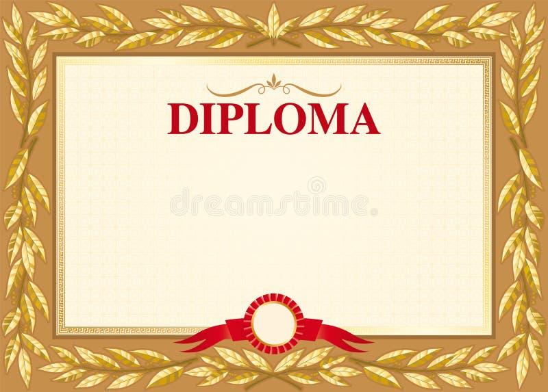 Calibre de dipl?me avec un ornement des feuilles de laurier d'or illustration stock