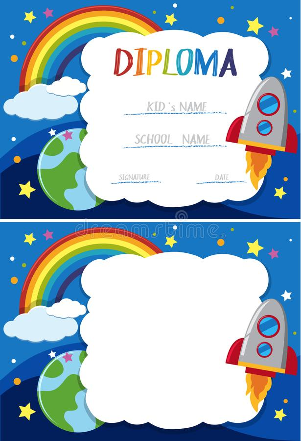 Calibre de diplôme et de carte avec la fusée en ciel illustration de vecteur
