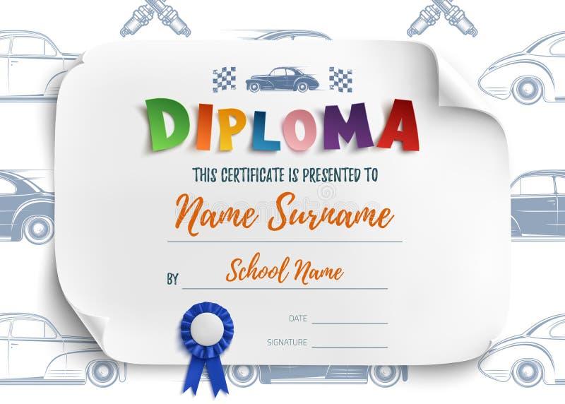 Calibre de diplôme avec des voitures de course illustration libre de droits