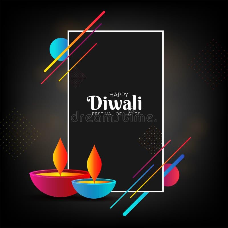 Calibre de Diwali ou design de carte heureux de salutation avec l'oi plat de style illustration libre de droits