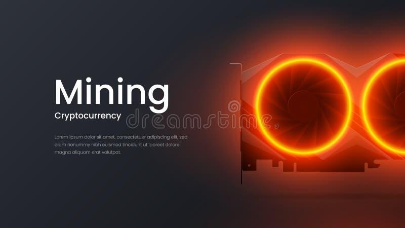 Calibre de extraction d'illustration de vecteur de page d'atterrissage de cryptocurrency étonnant Bannière lumineuse de présentat illustration libre de droits