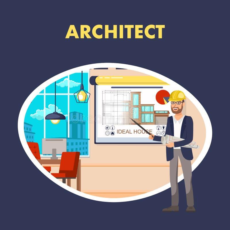 Calibre de Flat Vector Banner d'architecte illustration libre de droits