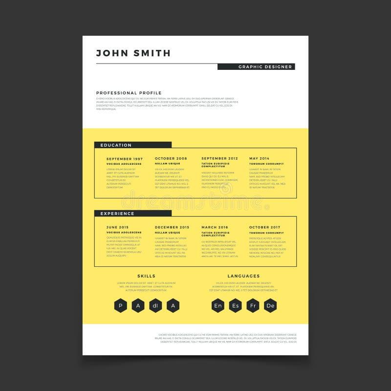 Calibre de forme de cv Calibre élégant d'élégance de résumé professionnel Maquette simple de vecteur de couverture de lettre illustration de vecteur
