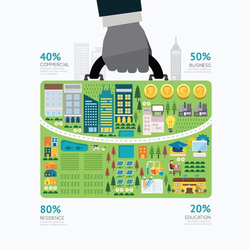 Calibre de forme de sac d'affaires de prise de main d'homme d'affaires d'Infographic illustration de vecteur