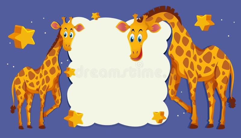 Calibre de frontière avec deux girafes la nuit illustration stock