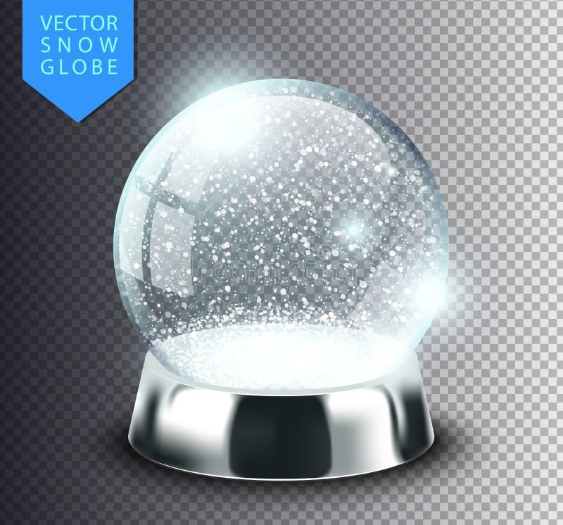 Calibre de globe de neige vide sur le fond transparent Boule de magie de Noël Illustration réaliste de vecteur de snowglobe de No illustration stock