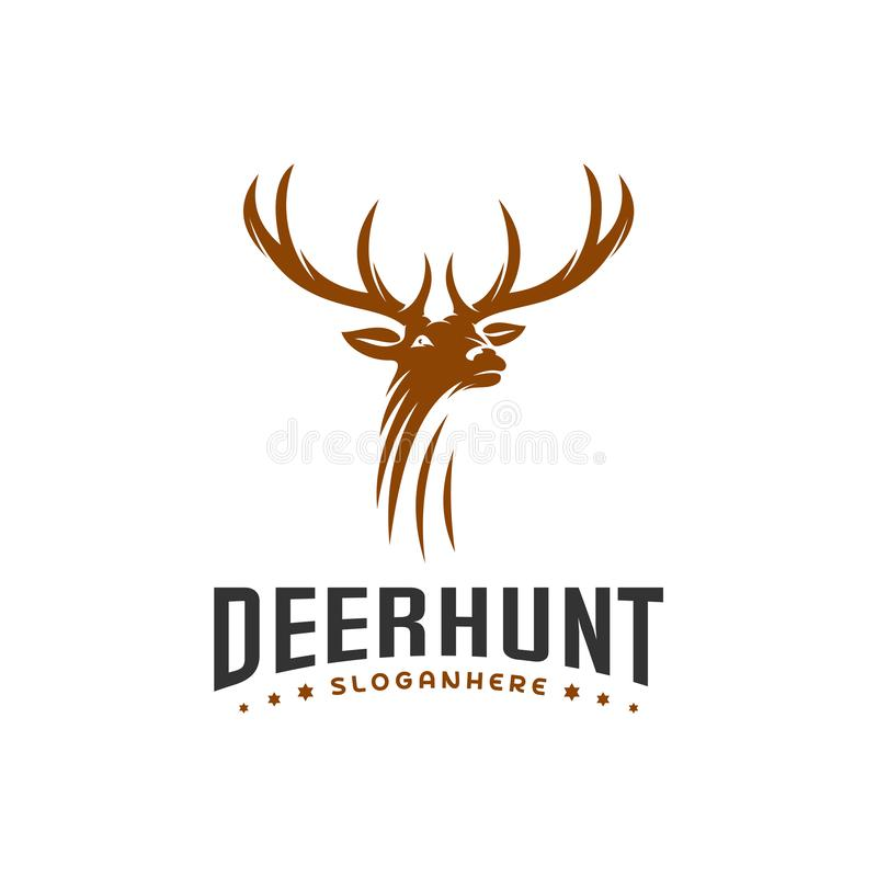 Calibre de Hunt Logo de cerfs communs, vecteur principal de conceptions de logo de cerfs communs élégants illustration stock
