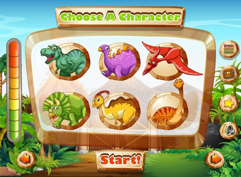 Calibre de jeu avec des caractères de dinosaure illustration de vecteur