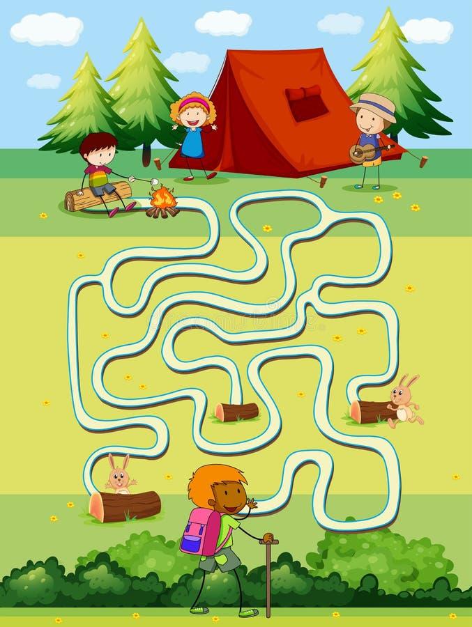 Calibre de jeu avec des enfants campant dans le domaine illustration libre de droits