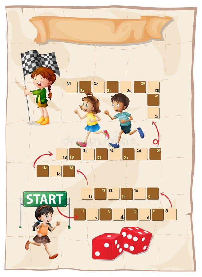 Calibre de jeu avec des enfants courant dans la course illustration libre de droits