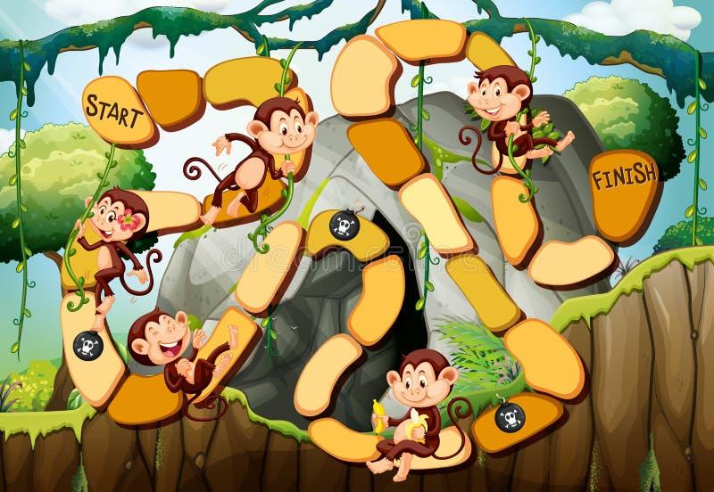 Calibre de jeu avec des singes dans la forêt illustration de vecteur