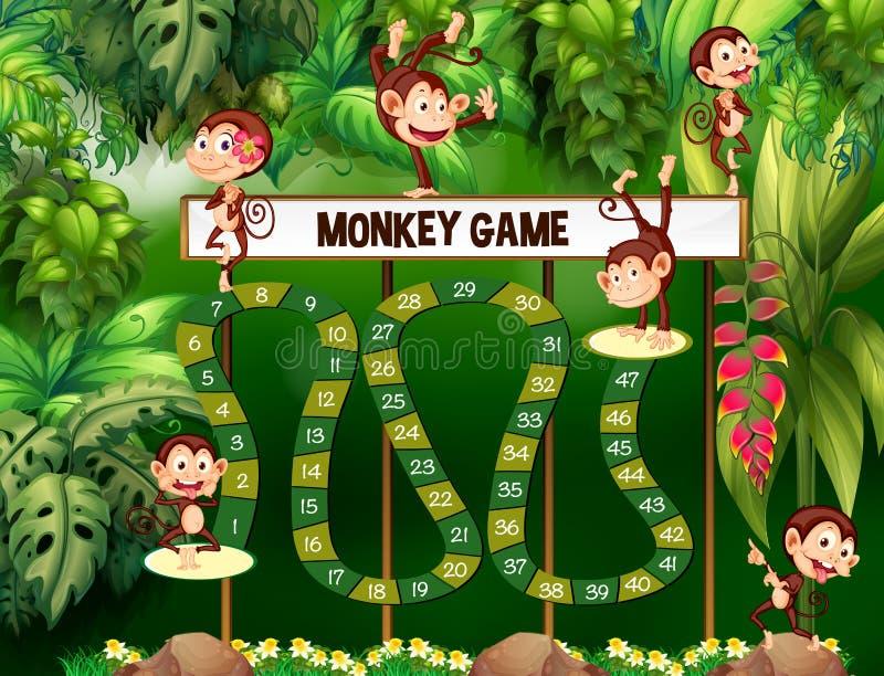 Calibre de jeu avec des singes dans la jungle illustration libre de droits