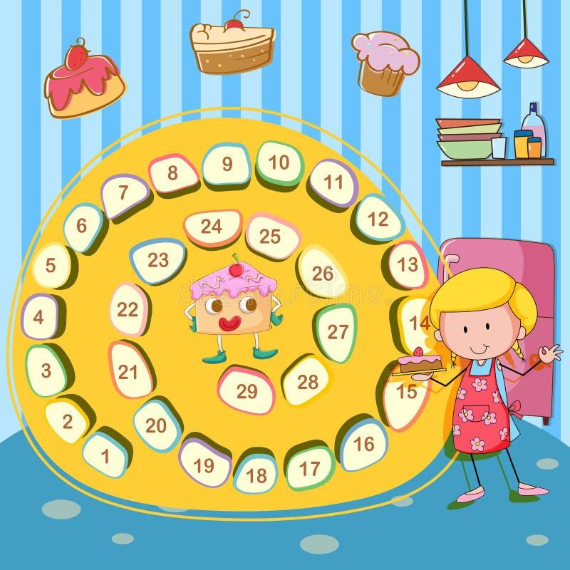 Calibre de jeu avec la fille et le gâteau illustration libre de droits