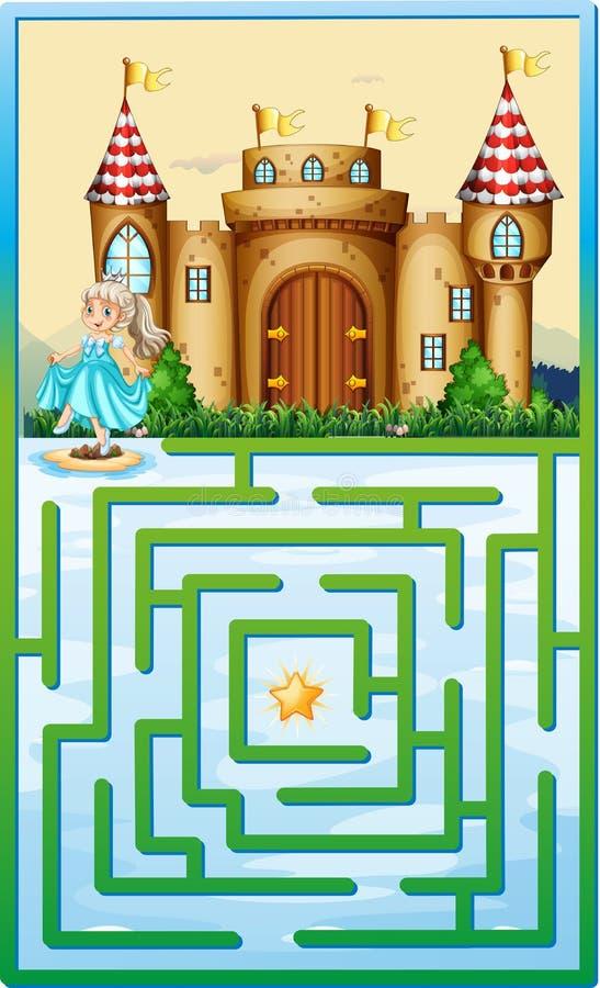 Calibre de jeu avec la princesse et le château illustration de vecteur