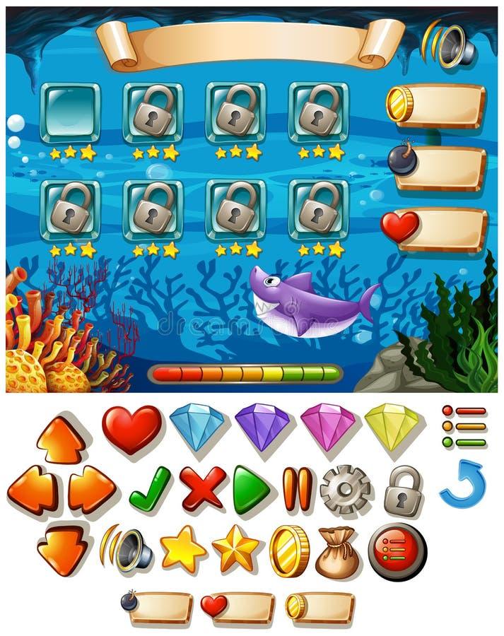 Calibre de jeu avec la scène sous-marine illustration de vecteur