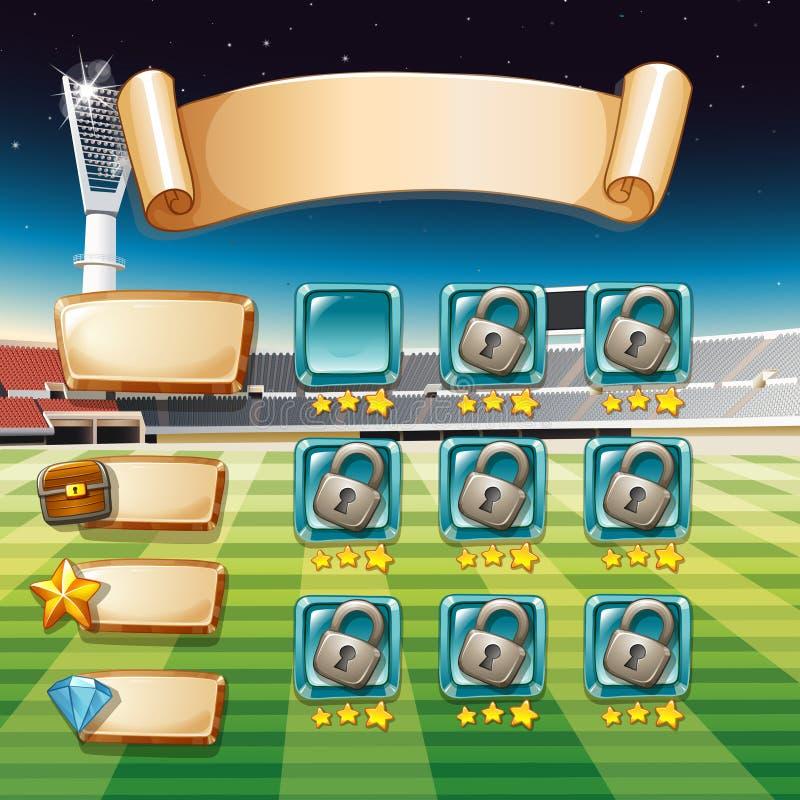 Calibre de jeu avec le fond de terrain de football illustration libre de droits