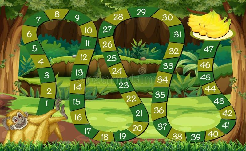 Calibre de jeu avec le singe dans la forêt illustration de vecteur