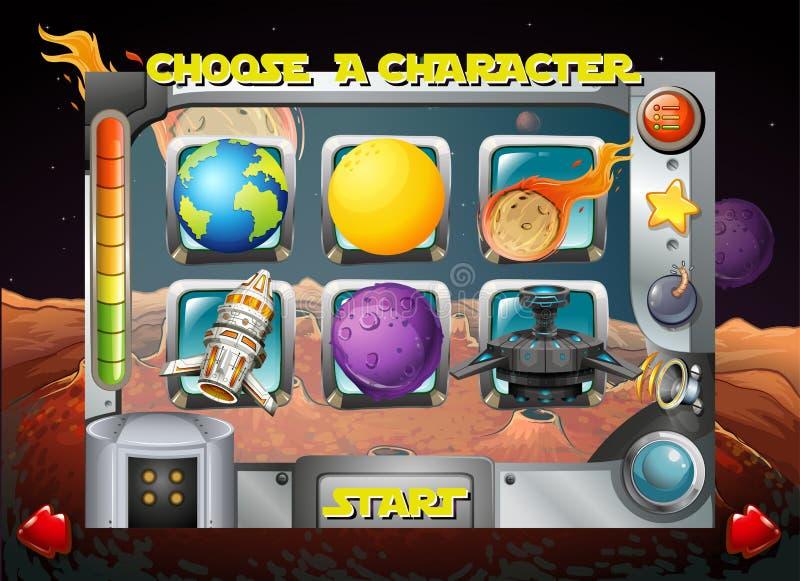 Calibre de jeu avec le thème de l'espace illustration libre de droits