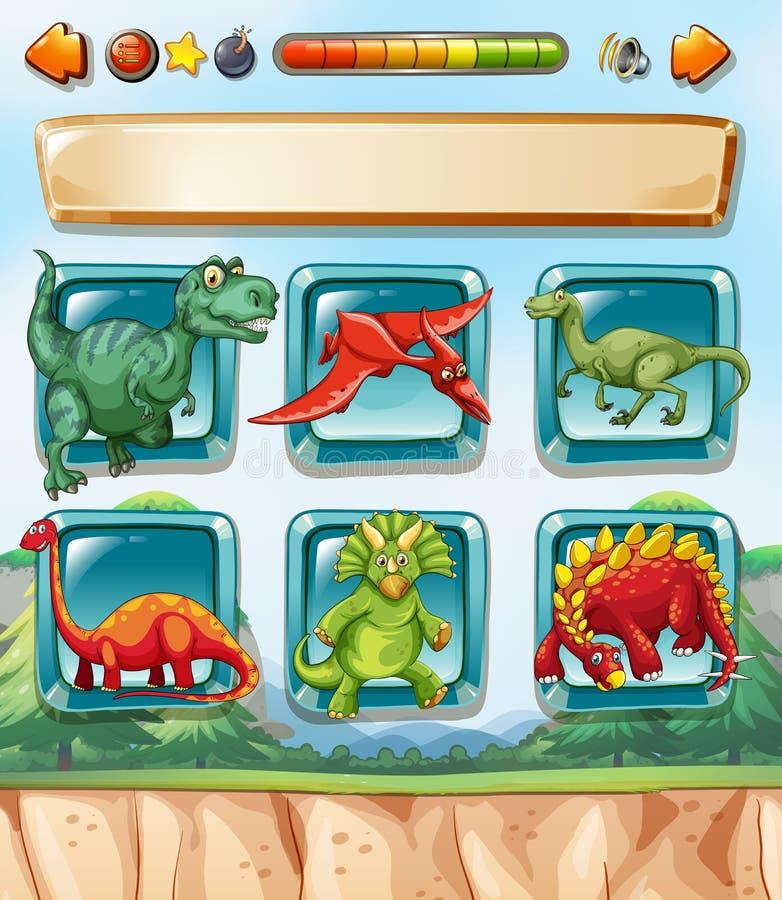 Calibre de jeu d'ordinateur avec le fond de dinosaures illustration stock