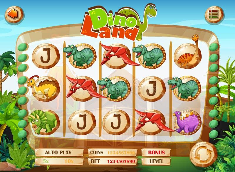 Calibre de jeu de fente avec des caractères de dinosaure illustration de vecteur