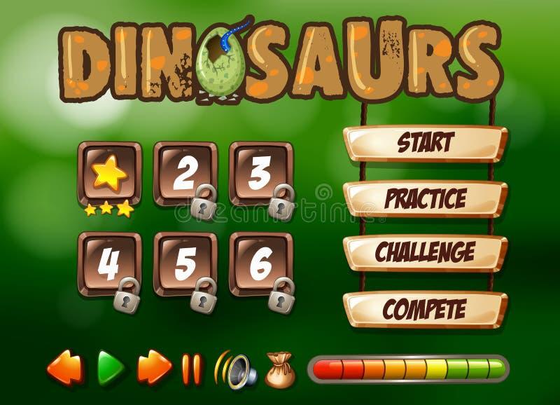 Calibre de jeu de dinosaures commençant la page illustration libre de droits