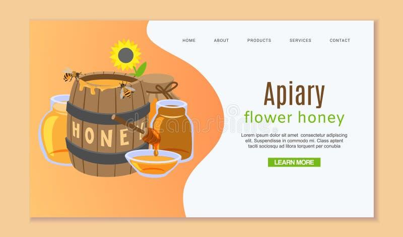 Calibre de l'apiculture et de Web de miel avec le baril de miel, la fleur du soleil et les abeilles Calibre de débarquement de pa illustration de vecteur