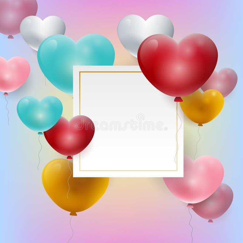 Calibre de l'espace de copie de livre blanc de jour de valentines sur le fond d'arc-en-ciel avec le coeur Illustration de vecteur illustration de vecteur