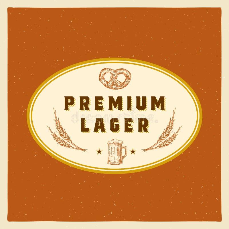 Calibre de la meilleure qualité de Lager Abstract Vector Beer Sign, de symbole ou de label Rétros tasse, blé et bretzel tirés par illustration stock