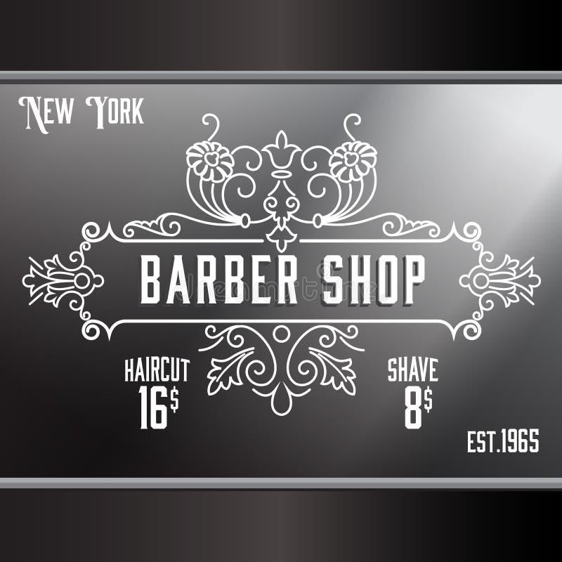 Calibre de la publicité de fenêtre de salon de coiffure de vintage illustration stock