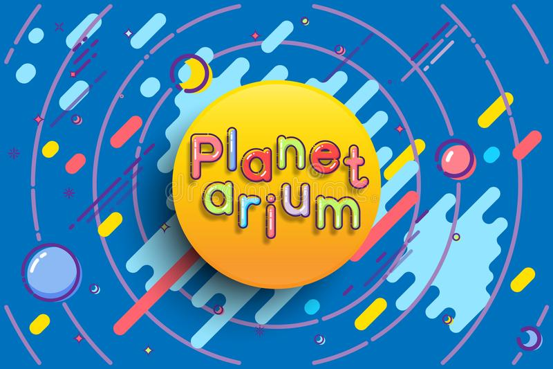Calibre de la publicité de planétarium Dirigez le soleil avec le mot de planétarium sur le fond bleu de l'espace illustration de vecteur