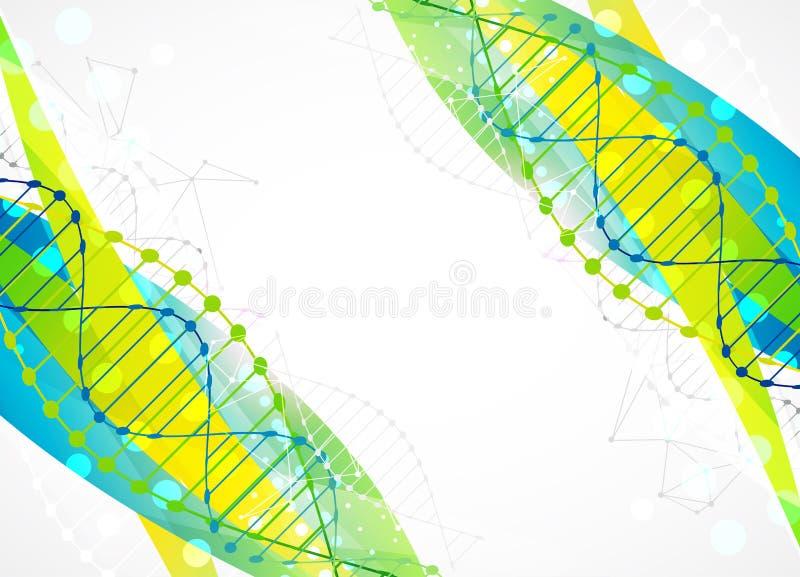 Calibre de la Science, bannière avec des molécules d'une ADN illustration libre de droits
