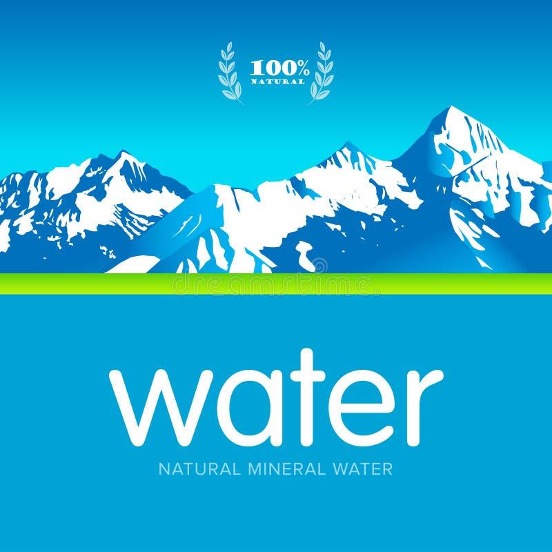 Calibre de label de conception de logo mis en bouteille par minerai d'eau de source de vecteur Illustration d'isolement illustration libre de droits