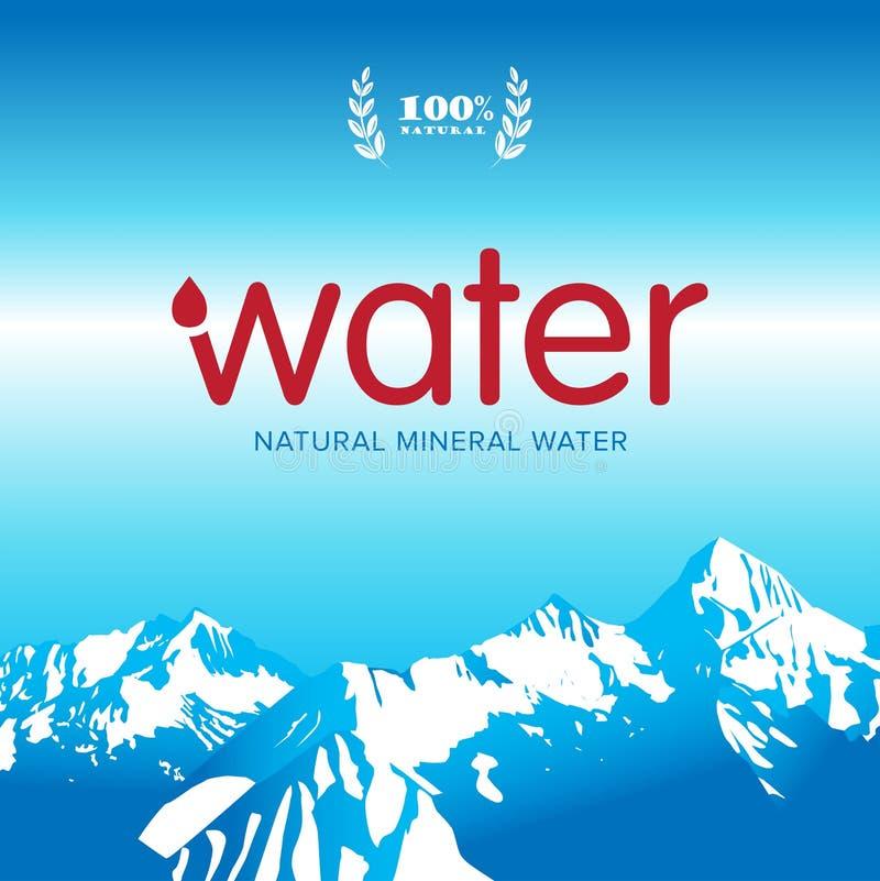 Calibre de label de conception de logo mis en bouteille par minerai d'eau de source de vecteur Illustration d'isolement illustration de vecteur