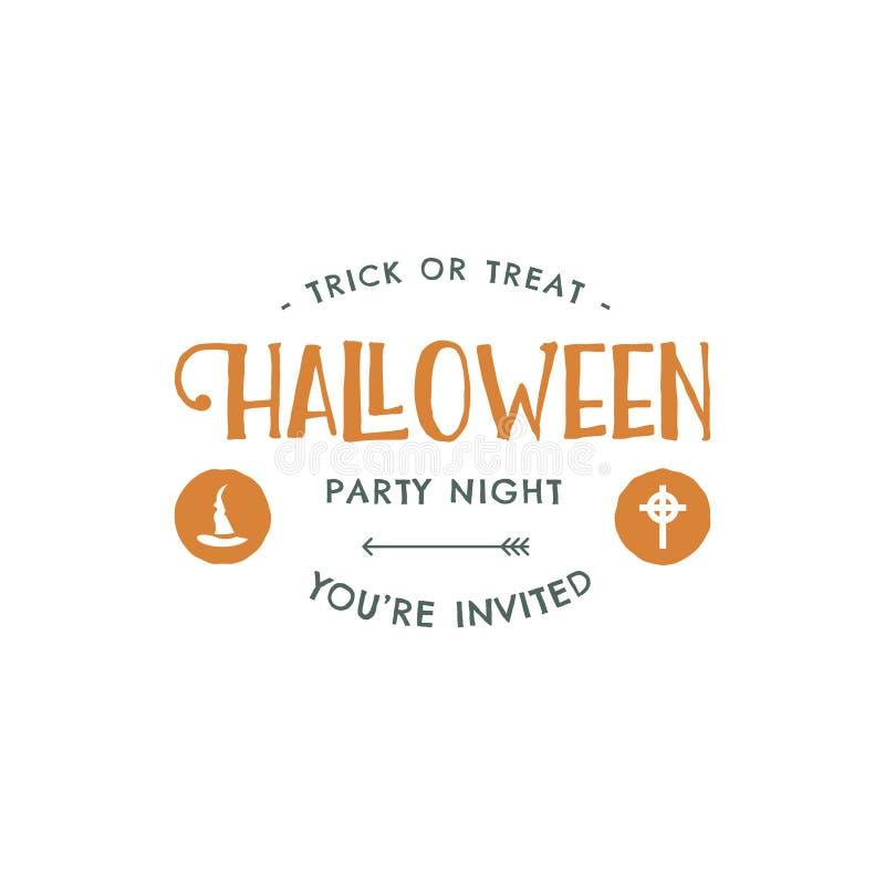 Calibre de label de partie de Halloween avec des éléments de chapeau et de typographie Lettres de vecteur Rétro correction grunge illustration stock