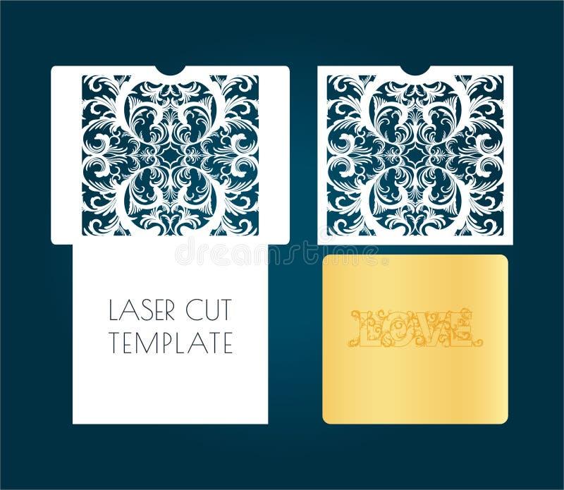 Calibre de laser d'enveloppe à jour, cartes Par la coupe d'une fleur, modèle végétal de papier, un carton illustration libre de droits