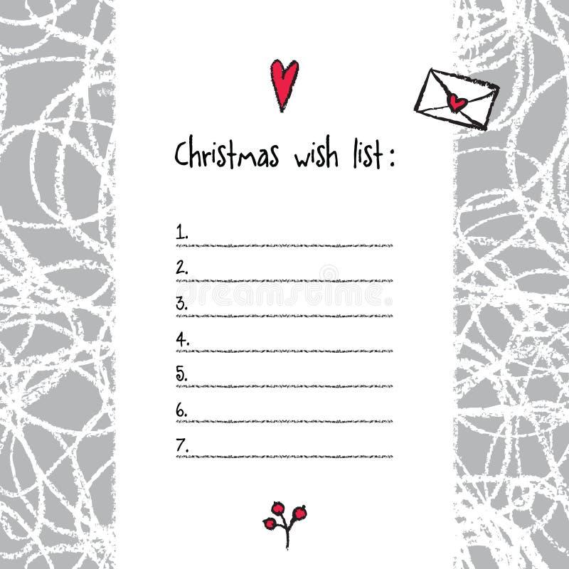 Calibre de list d'envie de Noël Éléments tirés par la main DES imprimable illustration libre de droits