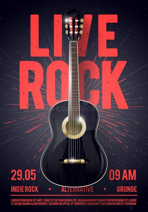 Calibre de Live Classic Rock Music Poster d'illustration de vecteur beau Pour la promotion de concert dans les clubs, les barres, illustration de vecteur