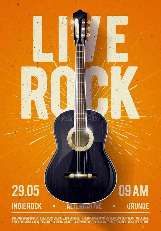 Calibre de Live Classic Rock Music Poster d'illustration de vecteur beau Pour la promotion de concert dans les clubs, les barres, illustration stock