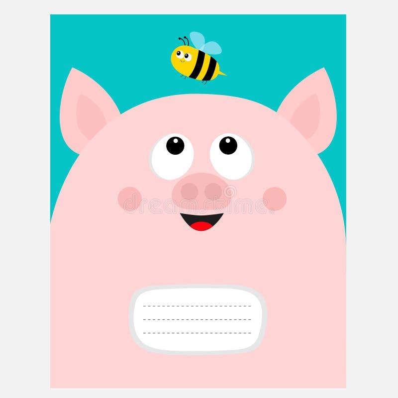 Calibre de livre de composition en couverture de carnet Tête piiggy de porcelet de porc de rose regardant l'insecte d'abeille Per illustration libre de droits