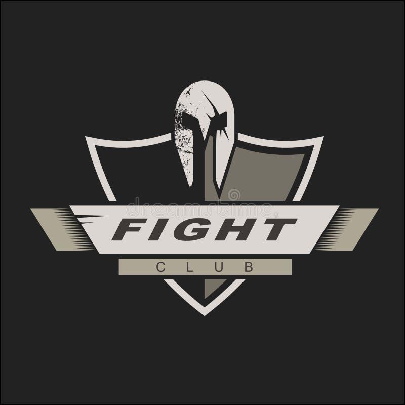 Calibre de logo avec le casque et le bouclier spartiates Conception de logo de club de combat Illustration de vecteur Calibre de  illustration de vecteur