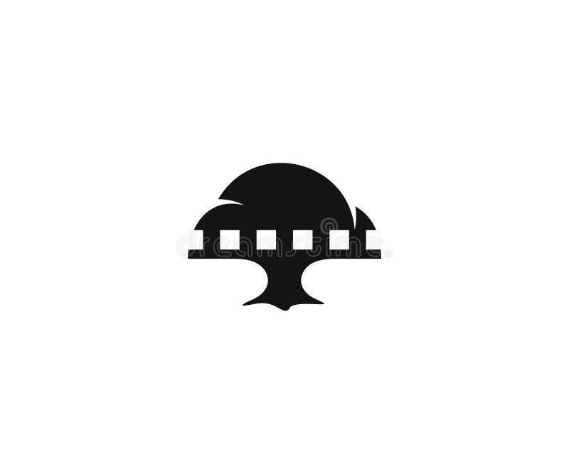 Calibre de logo de bande d'arbre et de film Conception de vecteur de bande de film illustration libre de droits
