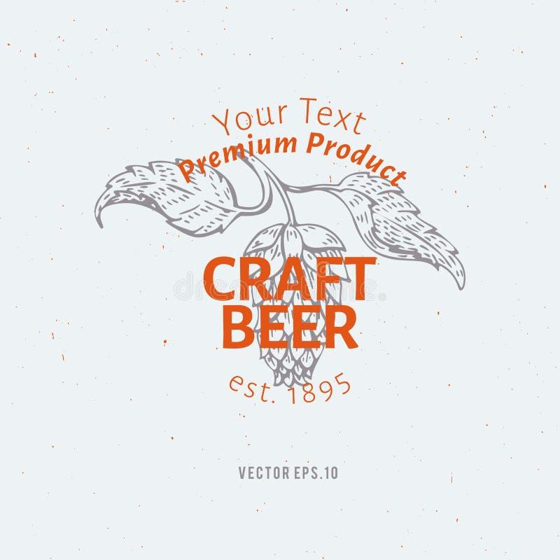 Calibre de logo de bière Illustration tirée par la main de branche d'houblon de vecteur Conception de style de vintage Peut être  illustration de vecteur