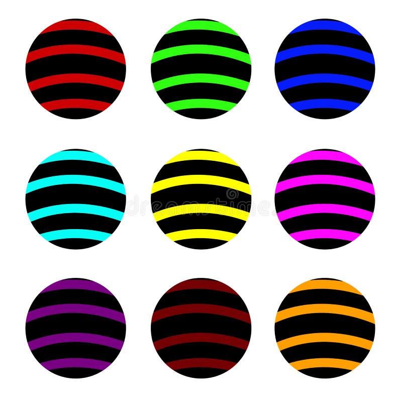 Calibre de logo de boule de rayure Symbole abstrait de globe, icône ronde d'isolement illustration libre de droits