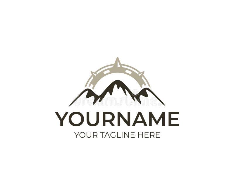 Calibre de logo de boussole et de montagnes Conception de vecteur de voyage, de tourisme et d'alpinisme illustration de vecteur
