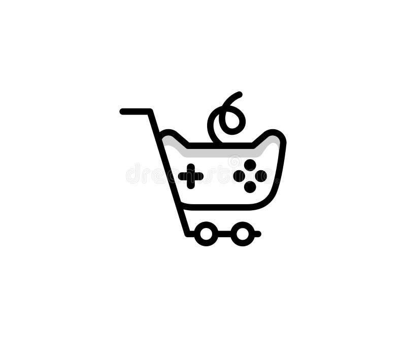 Calibre de logo de caddie et de manette de jeu Conception en ligne de vecteur d'achats illustration libre de droits