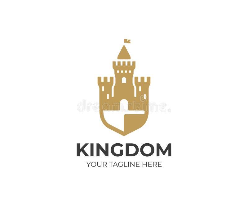 Calibre de logo de château et de bouclier Conception de vecteur de forteresse illustration stock