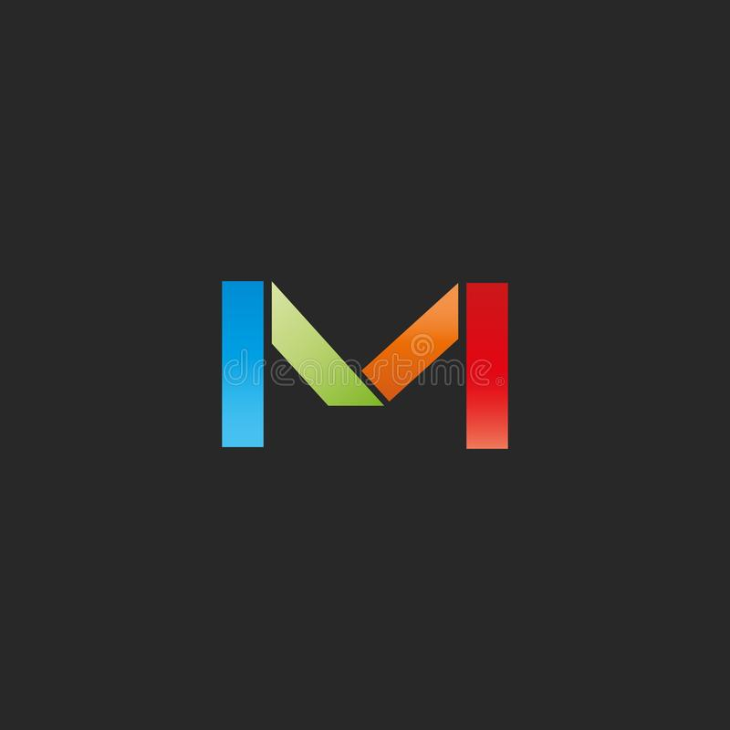 Calibre de logo coloré par lettre de M, forme géométrique graphique colorée, maquette pour la carte de visite professionnelle de  illustration libre de droits
