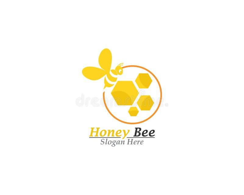 Calibre de logo d'abeille et de miel illustration de vecteur